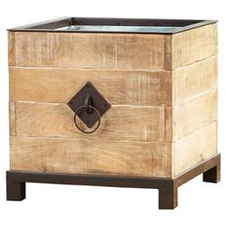 Tanner French Country Natural Wood and Bronze Metal Round Handle Square Planter