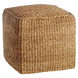 Zuri French Country Thick Cushion Woven Seagrass Square Pouf