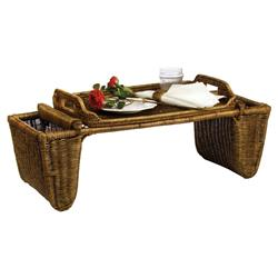 Paul French Country Handcrafted Brown Rattan Breakfast Tray Table