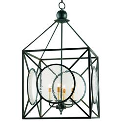 Beckmore Geometric Iron Seeded Glass 4 Light Lantern Pendant