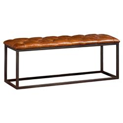 Anna Modern Contemporary Tufted Brown Leather Metal Bench