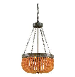 Brigg Orange Beaded Modern Basket Style 4 Light Chandelier
