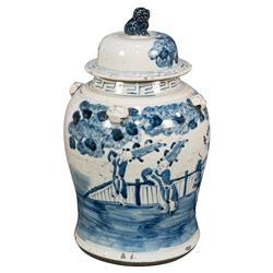 Chao Global Bazaar Blue White Ceramic Decorative Urn Jar