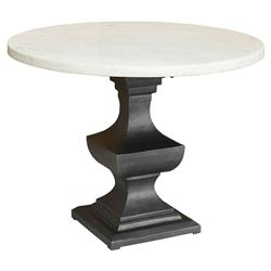 Danielle Country Classic Round White Marble Top Metal Pedestal Dining Table