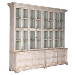 Daryl Rustic French Antique White Wood Glass Bookcase Display Case
