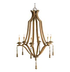 Traditional Ribbed Wood  6 Light Grand Chandelier