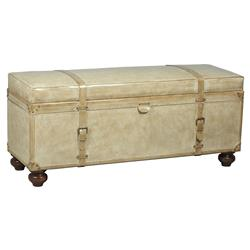 Haider Contemporary Classic Beige Leather Upholstered Trunk Bench