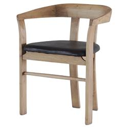 Ivey Mid-Century Black Leather Seat Acacia Wood Dining Chair