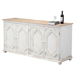 Janvier French Country Rustic White Wood Buffet Sideboard