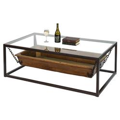 Mark Contemporary Rectangular Glass Wood Trough Coffee Table