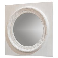Mars Modern Classic Square White Wood Frame Round Wall Mirror