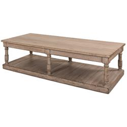 Rosemonde French Country Rectangular Grey Reclaimed Pine Wood Coffee Table
