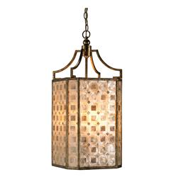 St. Helens Modern Square Capiz Shell Panel 4 Light Lantern Pendant