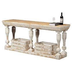 Typhaine French Country White Reclaimed Pine Wood Console Table