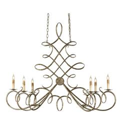 Old World Calligraphy Loop Oval 6 Light Chandelier