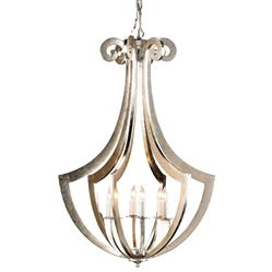 Clion Ribbed Silver Leaf Contemporary 6 Light Chandelier