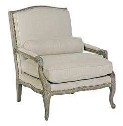 Laurie French Country Solid Burnished Oak Nail Head Arm Chair