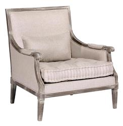 Victor French Country Square Back Tufted Linen Bergere Accent Armchair