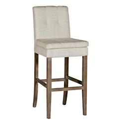 Conrad Tufted Linen Square Back Bar Stool | SCH-150110