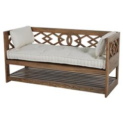 Modena Tufted French Linen Rustic Wood Seating Bench Storage