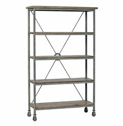 Isabelle Industrial Loft Caster Feet Reclaimed Wood Rolling Bookcase | SCH-251240
