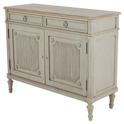 Jules Shabby Chic French Country Ribbed Door Antique Beige Chest