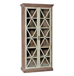 Hannah Trellis Patter Contrast Vintage Wood Curio Cabinet