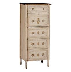 Simon Distressed White French Country Hallway Corner Cabinet
