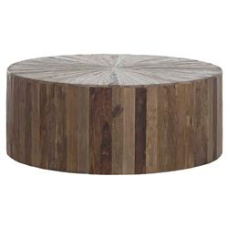 Cyrus Rustic Lodge Natural Brown Reclaimed Elm Wood Drum Round Block Coffee Table