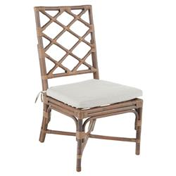 Kennedy Lattice Back Regency Style Linen Rattan Dining Chair- Set of 2