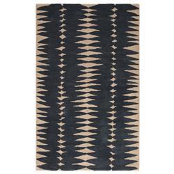 Victor Modern Blue Ivory Wool Geometric Pattern Rug - 5' x 8'