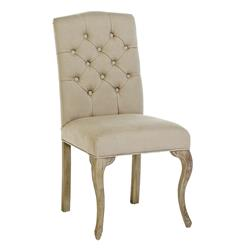 Avignon French Country Tufted Back Oak Cotton Dining Chairs - Pair