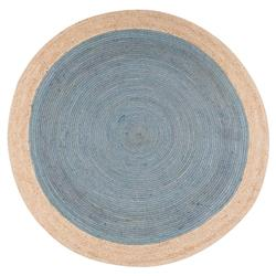 Felix Modern Round Smoke Blue Brown Natural Jute Solid Rug - 6' x 6'