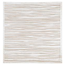 Thea Modern Round Ivory Abstract Stripe Pattern Rug - 6' x 6'