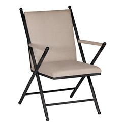 Martel Coastal Beach Classic Washed Metal Linen Military Campaign Chair