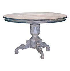 """Gerome Swedish Gustavian White Wash Antique Gray Dining Table- 48""""D"""