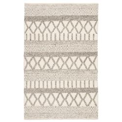 Louis Modern Ivory Grey Wool Stripe Patterned Rug - 5'x8'