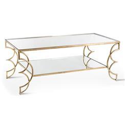 Ofelia Contemporary Antique Gold Leaf Boutique Coffee Table
