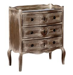 Patrice Country Cottage Distressed Wood Mirrored Top Petite Dresser