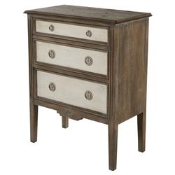 Holly Heavy Distressed Painted Burlap French Country Bedside Chest