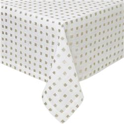 "Mode Living Modern Classic Antibes Tablecloth with Gold Foil Print - 66"" x 66"""