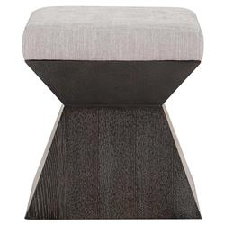 Dean Modern Masculine Light Grey Upholstered Brown Oak Bench Stool