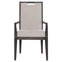 Dean Modern Masculine Grey Upholstered Brown Oak Dining Arm Chair