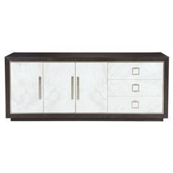Dean Modern Masculine Dark Oak Three Door White Buffet Sideboard