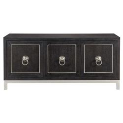 Dean Modern Masculine Dark Brown Oak Wood Silver Metal Buffet Sideboard