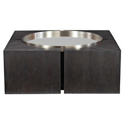 Dean Modern Masculine Dark Oak Mirror Top Square Coffee Table