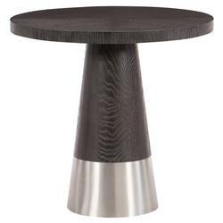 Dean Modern Masculine Brown Oak Stainless Steel Round End Table