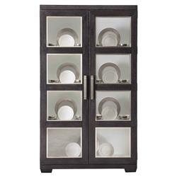 Dean Modern Masculine Dark Oak Wood Two Door China Display Cabinet