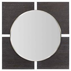 Dean Modern Masculine Square Brown Oak Frame Round Wall Mounted Mirror