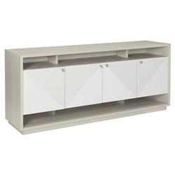 Lucille Modern Classic White Grey Wood Fancy Face Four Door Media Cabinet